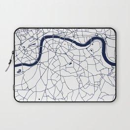 London White on Navy Street Map Laptop Sleeve