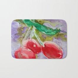 Red Cherries on Purple watercolor by CheyAnne Sexton Bath Mat
