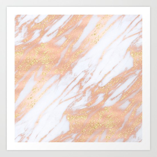 Marble - Rose Gold with Yellow Gold Glitter Shimmery Marble Art Print