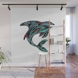 Abstract Killer Whale Tattoo Wall Mural
