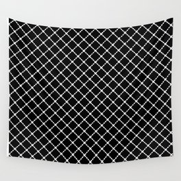 Dotted Grid 45 Black Wall Tapestry