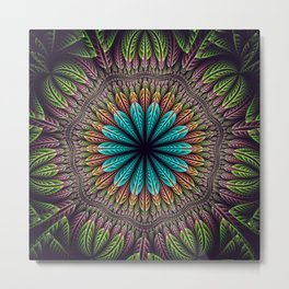 Tropical fantasy flower and leaves, fractal abstract Metal Print