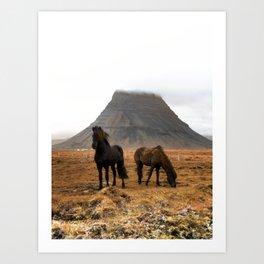 Wild Horses at Kirkjufell Art Print