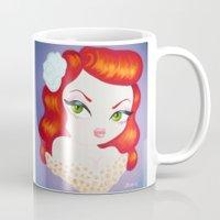 rockabilly Mugs featuring Rockabilly Redhead by Little Bunny Sunshine