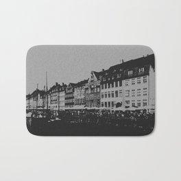 Copenhagen The Nyhavn Harbour Denmark Black and White Photography Bath Mat