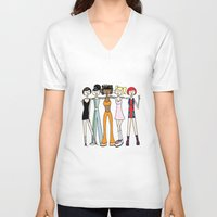 spice girls V-neck T-shirts featuring The Spice Girls by flapper doodle