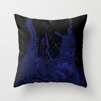 kraken Throw Pillows featuring Kraken by Salih Gonenli