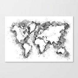 Gray splatters watercolor world map Canvas Print