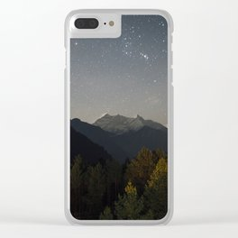 Starry night sky over the himalayas. Clear iPhone Case