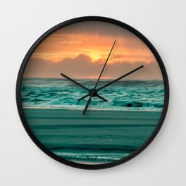 Turquoise Ocean Pink Sunset Wall Clock