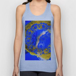 Royal Blue and Gold Abstract Lace Design Unisex Tank Top