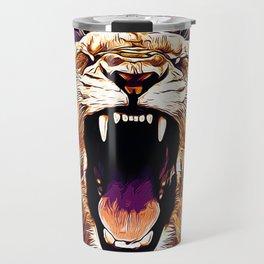african lioness safari cat v2 vector art late sunset Travel Mug