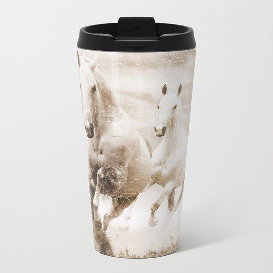 Horses Metal Travel Mug
