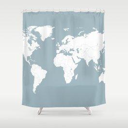 Minimalist World Map In Slate Blue Shower Curtain