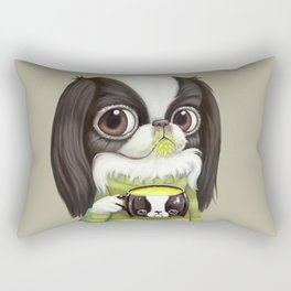 Japanese Chin Sips Matcha Latte Rectangular Pillow