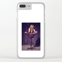 relaxed on the bar stool - Naked women Clear iPhone Case