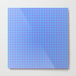 Lilac Blue Houndstooth Pattern Metal Print