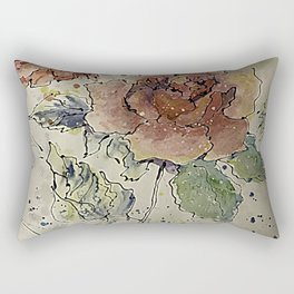 watercolor Rose #6 Original Painting by OLena Art Rectangular Pillow
