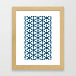 Blue seed of life pattern Framed Art Print