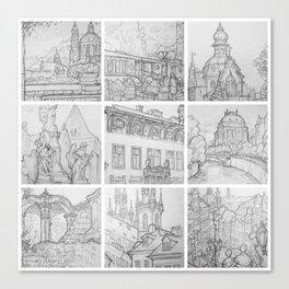 Prague sketches, part two by David A Sutton. sketchbookexplorer.com Canvas Print
