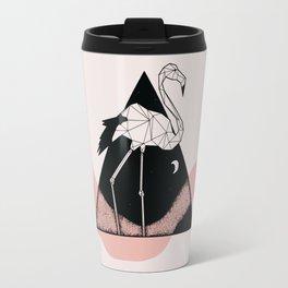 Flamingo in straight lines Travel Mug
