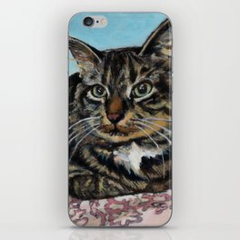 Siberian Cat sitting on Pink Floral Blanket iPhone Skin