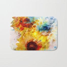 Watercolor Sunflowers Bath Mat
