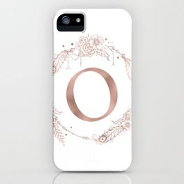 Letter O Rose Gold Pink Initial Monogram iPhone Case