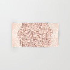 Mandala Seashell Rose Gold Coral Pink Hand & Bath Towel
