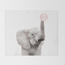 Bubble Gum Baby Elephant Throw Blanket