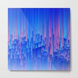 Glitchy Rain - Abstract Pixel Art Metal Print