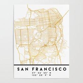 SAN FRANCISCO CALIFORNIA CITY STREET MAP ART Poster
