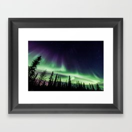 Aurora during geomagnetic storm in Yellowknife, Canada Framed Art Print