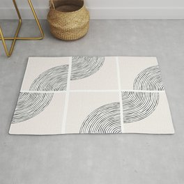 Threads; Black, White and Neutral Tile Pattern Rug