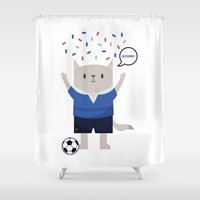 sports Shower Curtains featuring Sports Cat by The Cat