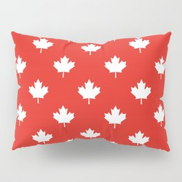 Large Reversed White Canadian Maple Leaf on Red Pillow Sham