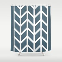 herringbone Shower Curtains featuring Herringbone by Sara Nolin