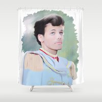 louis tomlinson Shower Curtains featuring PRINCE LOUIS TOMLINSON by Flambino Gambino