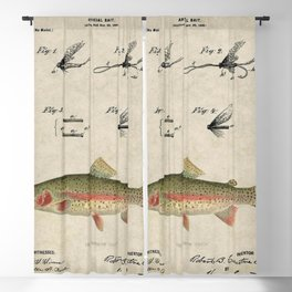 Vintage Rainbow Trout Fly Fishing Lure Patent Game Fish Identification Chart Blackout Curtain