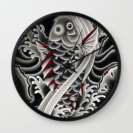 Japanese tattoo style Koi Wall Clock