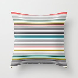 grey and colored stripes Throw Pillow