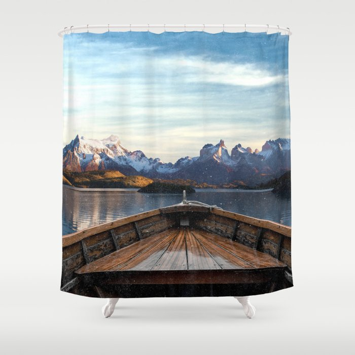 Torres del Paine National Park Chile, The Boat in Patagonia Shower Curtain