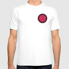 Shattered Hearts Badge Mens Fitted Tee White SMALL
