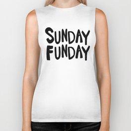 Sunday Funday - black hand lettering Biker Tank