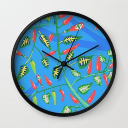 Red and green chilis Wall Clock