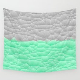 Vibrant Mint Green and Silver Quilted Design Wall Tapestry