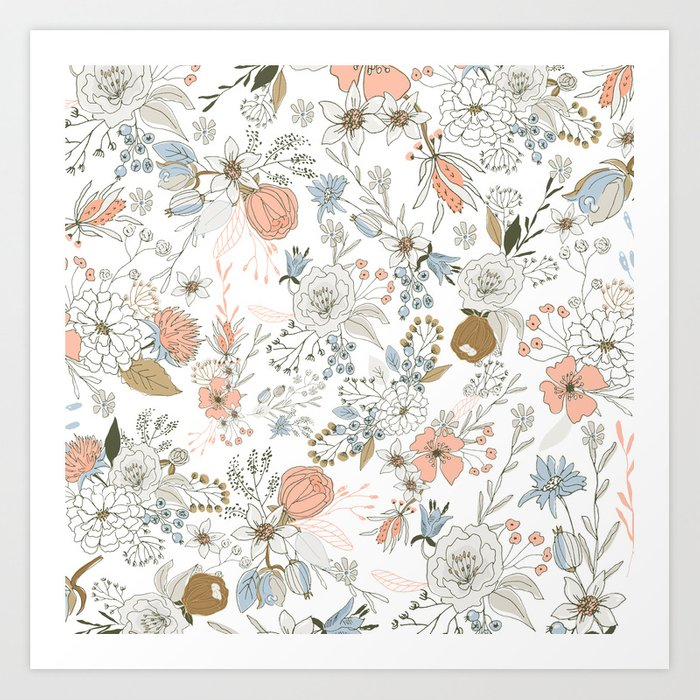 Abstract modern coral white pastel rustic floral Kunstdrucke