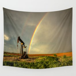 Black Gold - Rainbow Ends at Pump Jack in Texas Oilfield Wall Tapestry
