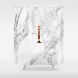 Monogram rose gold marble I Shower Curtain