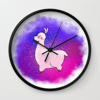 alpaca Wall Clocks featuring Alpaca by Eriboo